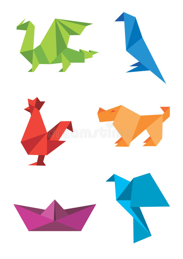 Origami_colorful_icons. Set of origami colorful icons, animals and boat. Vector illustration stock illustration