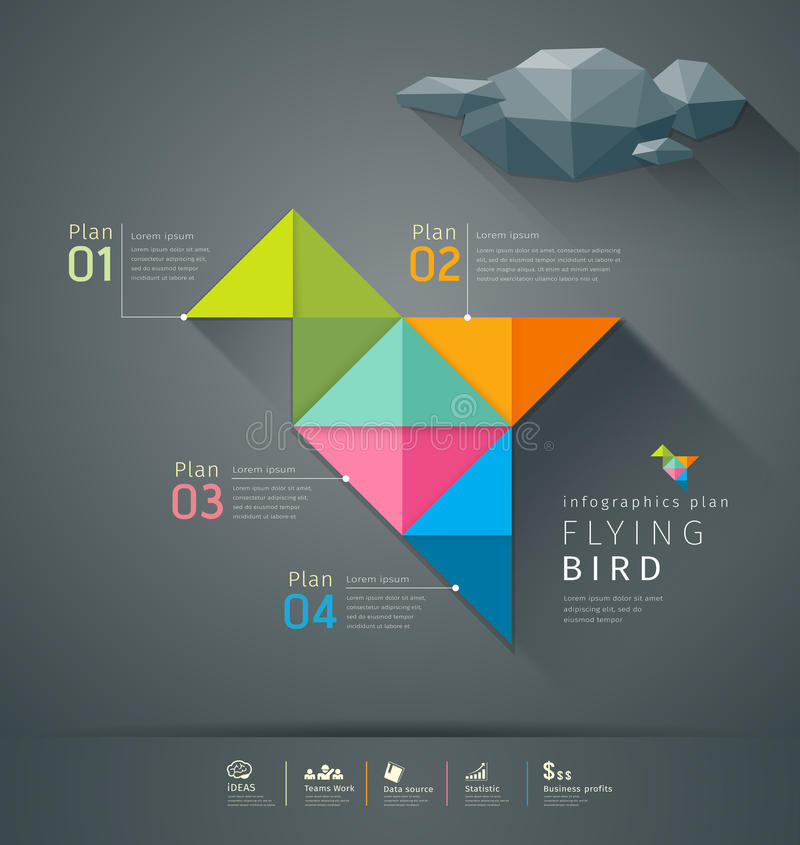 Origami colorful paper flying bird infigraphics royalty free illustration