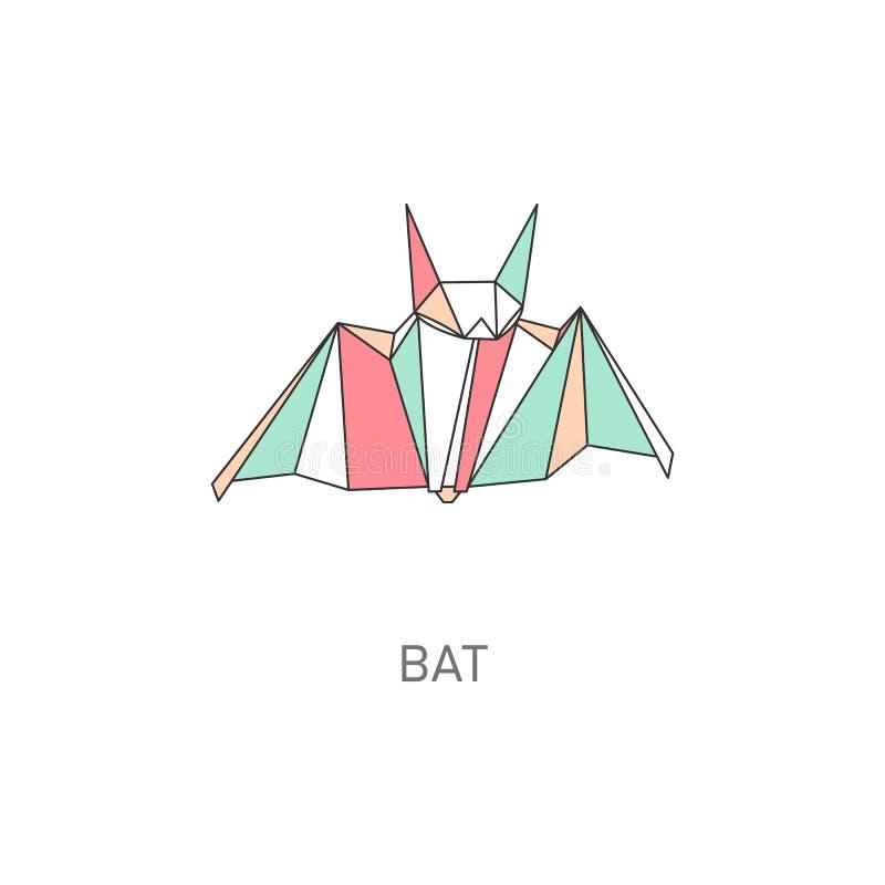 Origami craft of bat created in asian folded paper art cartoon vector illustration. Origami craft of bat created in asian folded paper with title art cartoon royalty free illustration