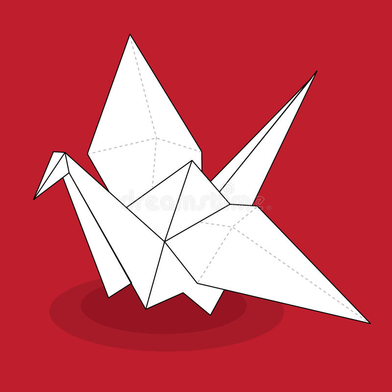 Origami Crane. Paper origami crane on a red background vector illustration