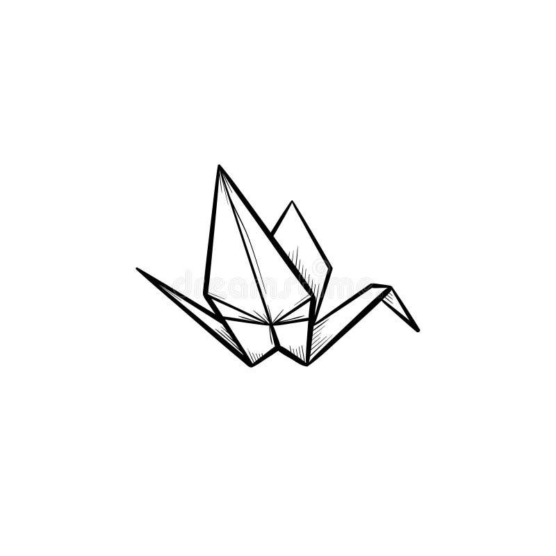 Origami crane hand drawn sketch icon. vector illustration