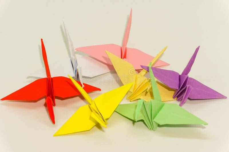Origami crane. On white stock image