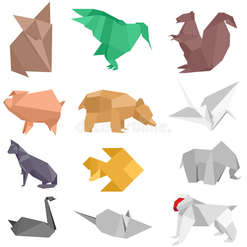 Origami Creatures. Origami-style illustrations of different animals royalty free illustration