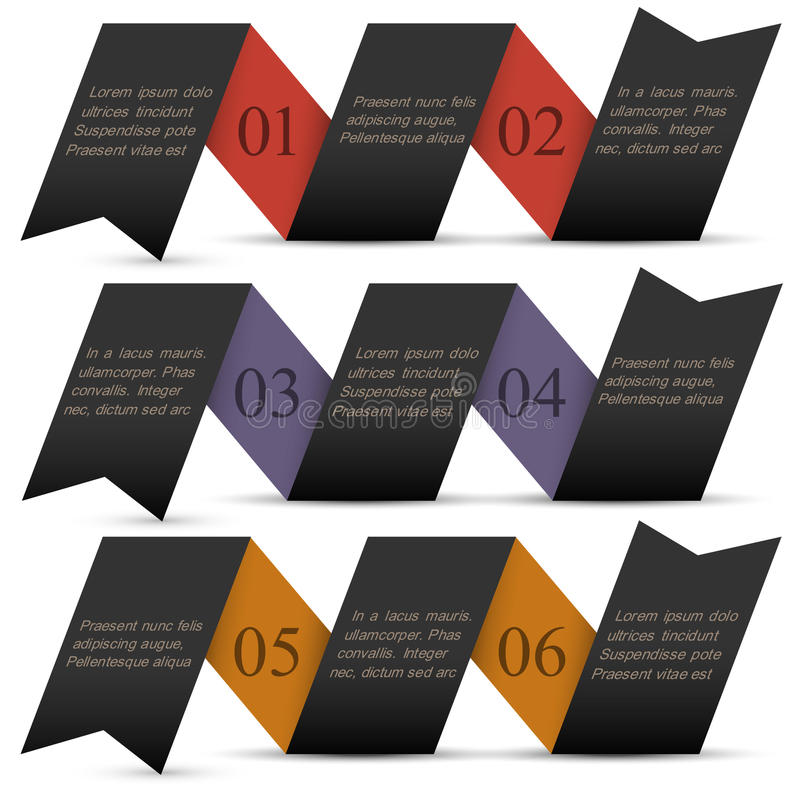 Origami czerni papiery liczący sztandary royalty ilustracja