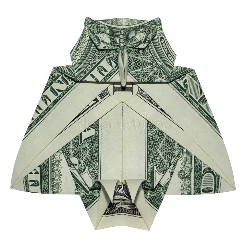 Origami d'argent grand OWL Bird Folded sage avec le vrai un dollar Bill White Background photos stock