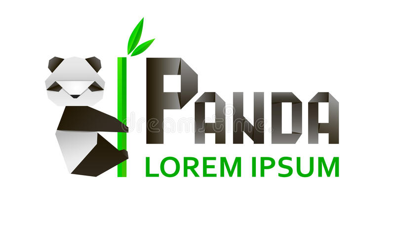 Origami 3d document panda op een witte achtergrond Vector illustratie royalty-vrije illustratie
