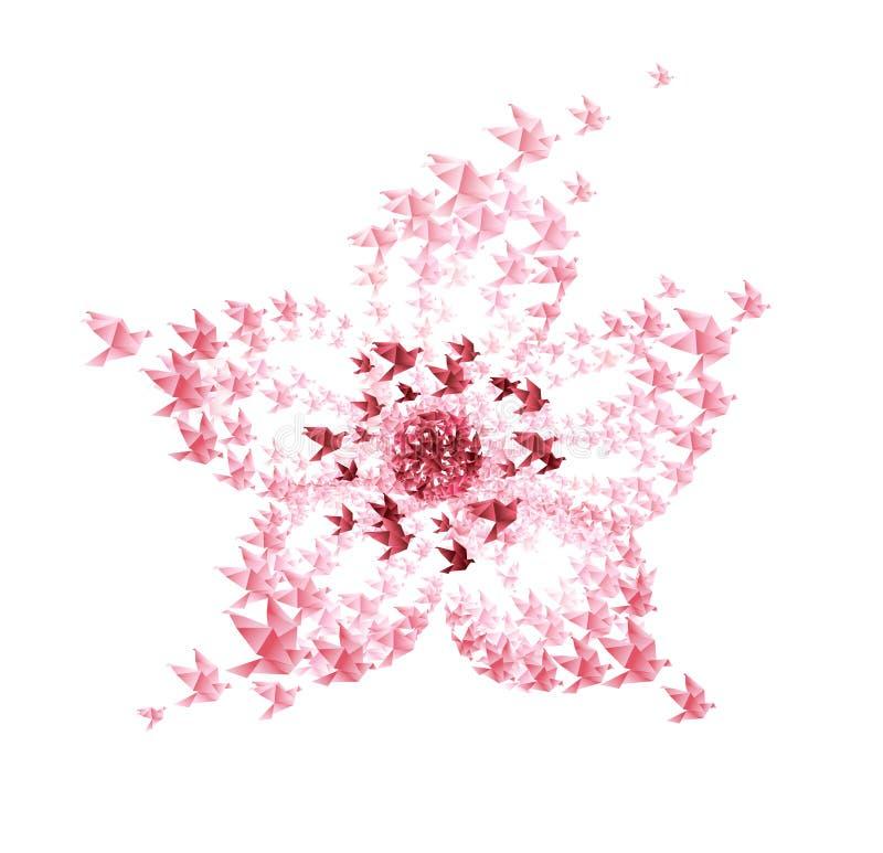 Origami da flor dado forma dos pássaros de vôo ilustração stock