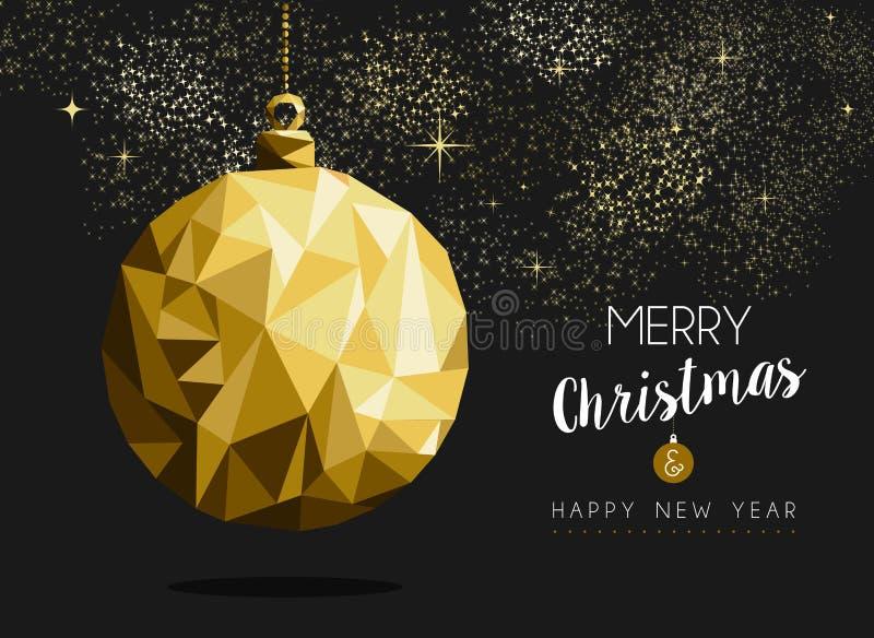 Origami de babiole d'or de bonne année de Joyeux Noël illustration stock