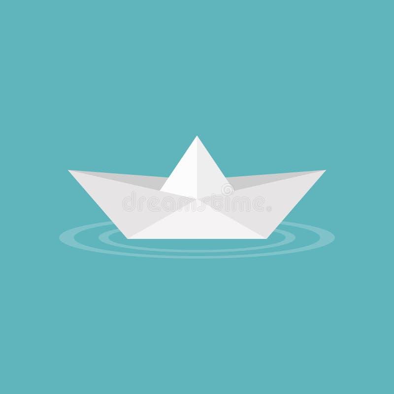 Origami de papier de bateau sur l'icône de vague d'eau illustration de vecteur