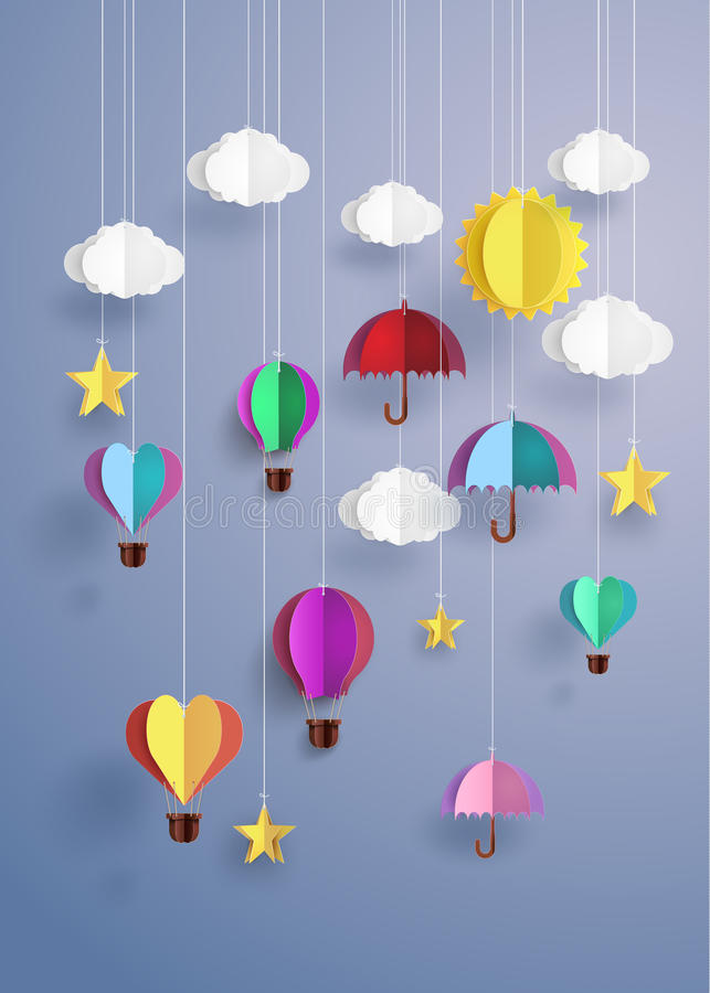 Origami decorate hanging. Colourful origami decorate hanging on sky stock illustration