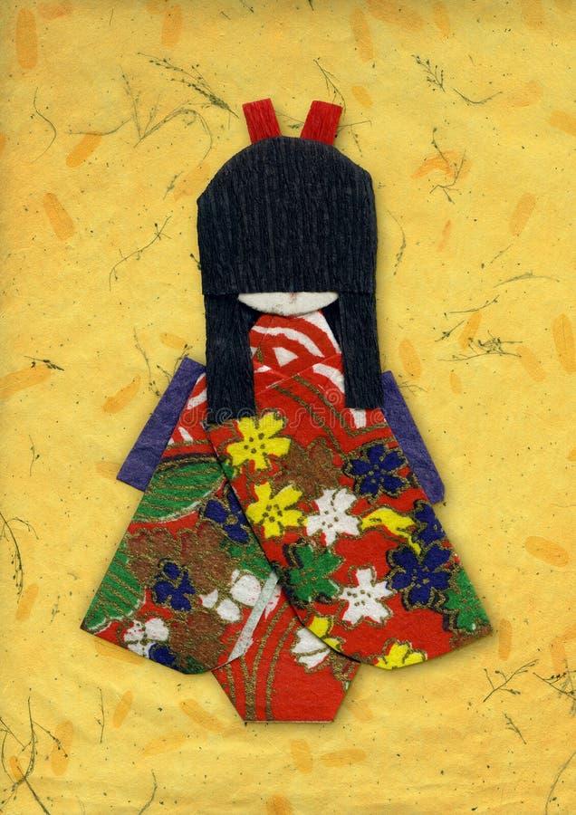 Origami del geisha en amarillo imagenes de archivo