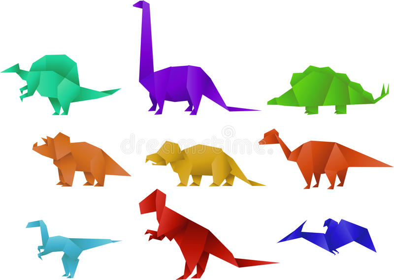 Origami dinosaur. Set of Nine Color Paper Origami Dinosaur Collection illustration stock illustration