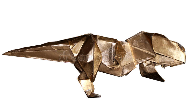 Download Origami Dinosaur T REX Isolated On White Stock Photo