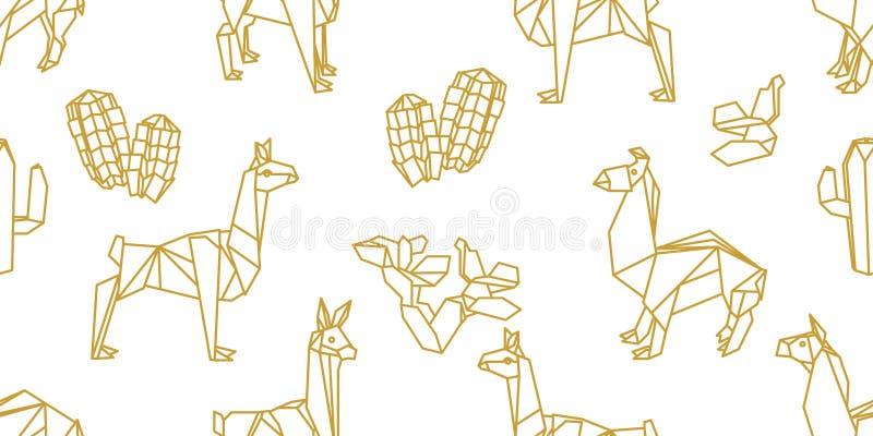 Origami djur Sömlös vektormodell med lamor vektor illustrationer