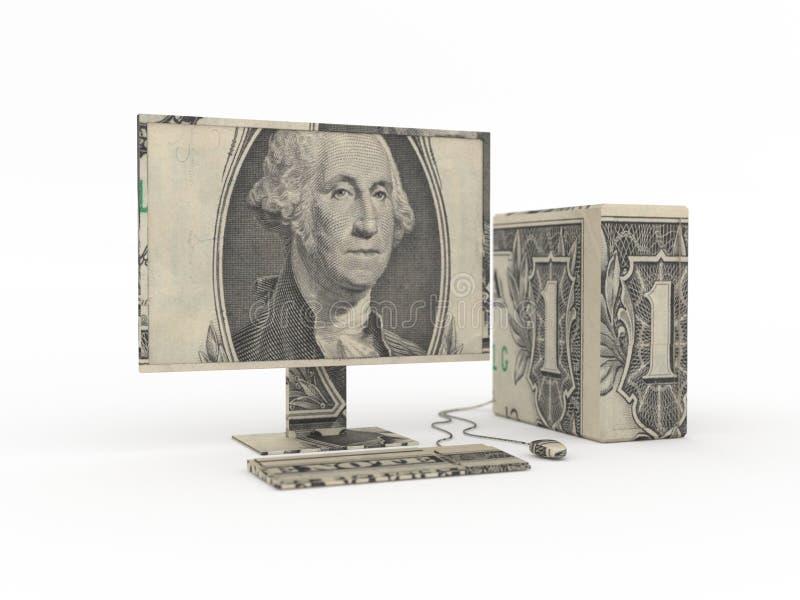 Origami do computador feito das contas de dólar imagem de stock royalty free