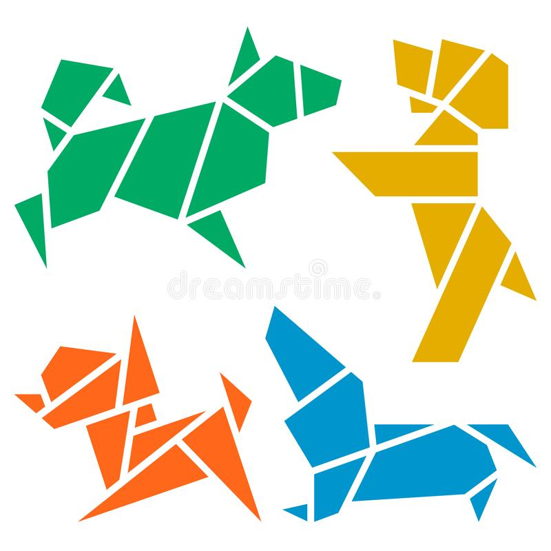 Origami Dogs Icon Set. Vector Origami Dogs Icon Set. Abstract Low Poly Pet Dog Breed Sign Silhouette Isolated on White. Freehand Drawn Paper Folding Art Emblem vector illustration