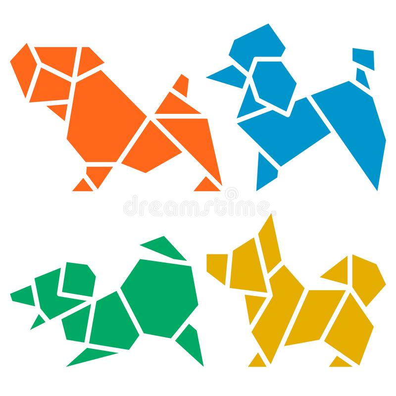 Origami Dogs Icon Set. Vector Origami Dogs Icon Set. Abstract Low Poly Pet Dog Breed Sign Silhouette Isolated on White. Freehand Drawn Paper Folding Art Emblem royalty free illustration