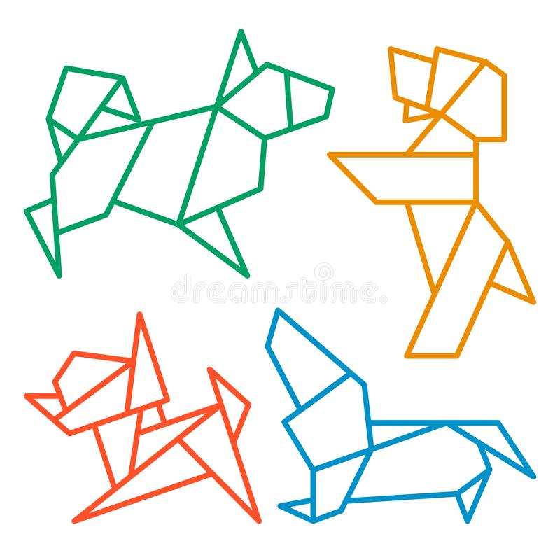 Origami Dogs Icon Set 1. Vector Origami Dogs Icon Set. Abstract Low Poly Pet Dog Breed Sign Silhouette on White. Freehand Drawn Paper Folding Art Emblem royalty free illustration