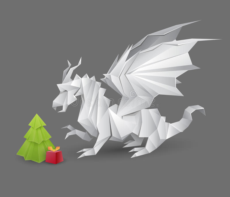 Origami dragon and a Christmas tree stock illustration