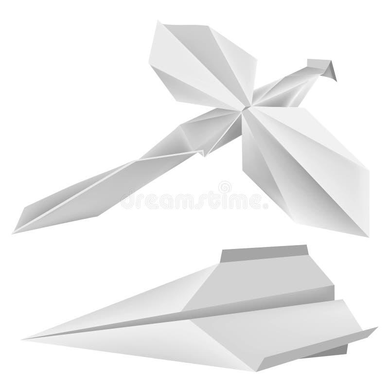 Origami_dragonfly_airplane ilustração do vetor