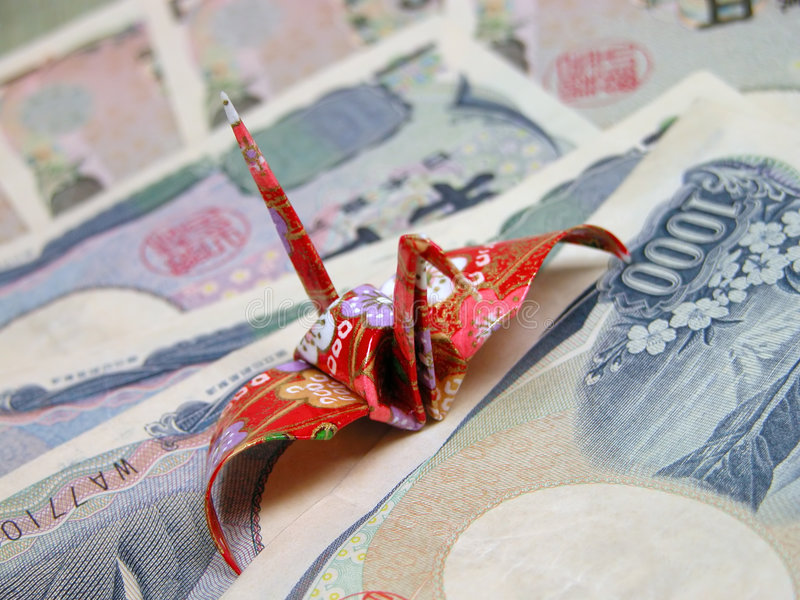 Origami e ienes imagens de stock