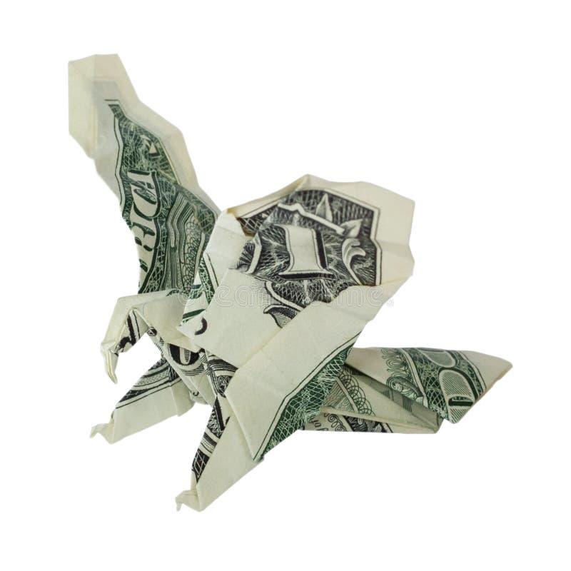 Origami EAGLE Real One Dollar Bill dei soldi fotografie stock libere da diritti