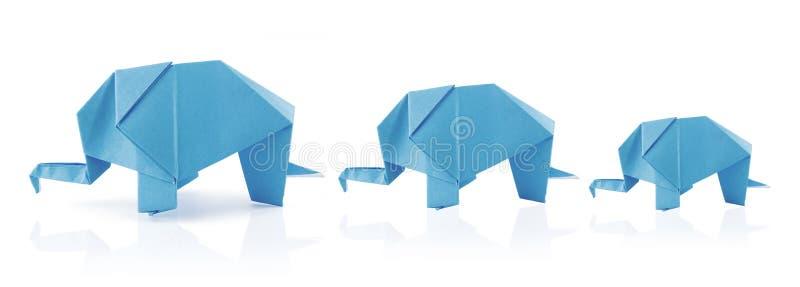 Origami elephant family stock photos