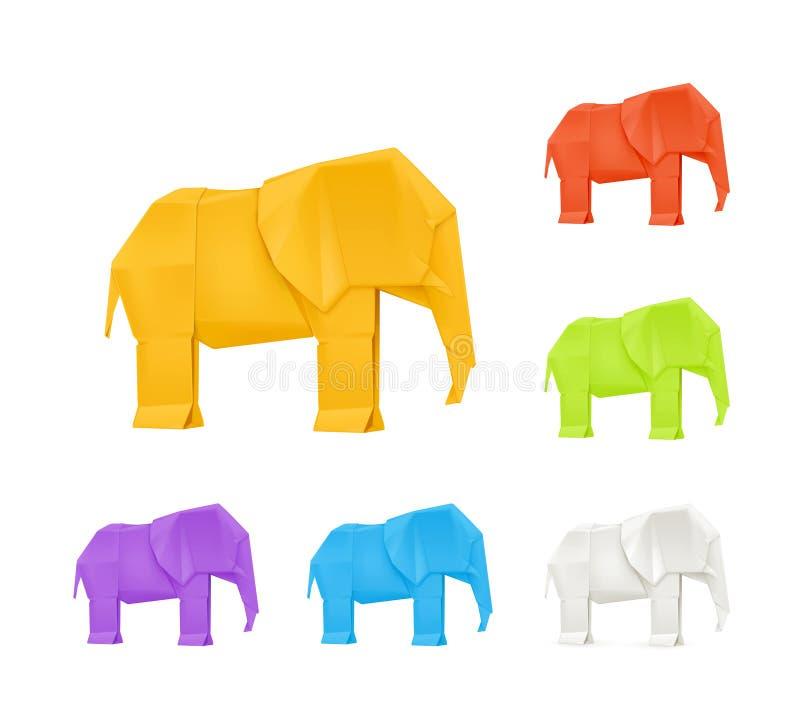 Origami elephants, set. Computer illustration on white background royalty free illustration