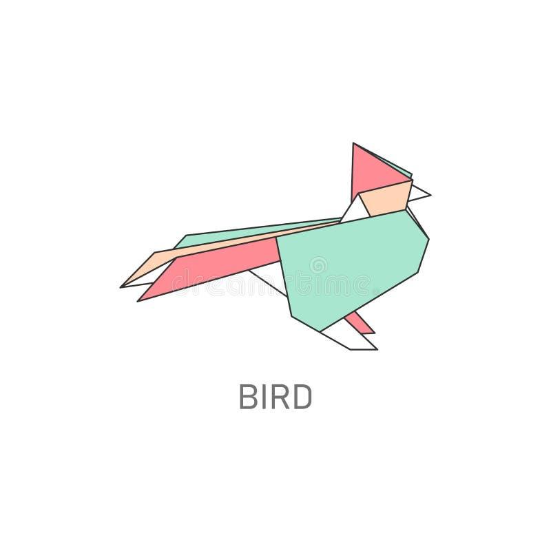 Origami faltete die flache Vektorillustration des Papiervogelhandwerks, die auf Weiß lokalisiert wurde stock abbildung