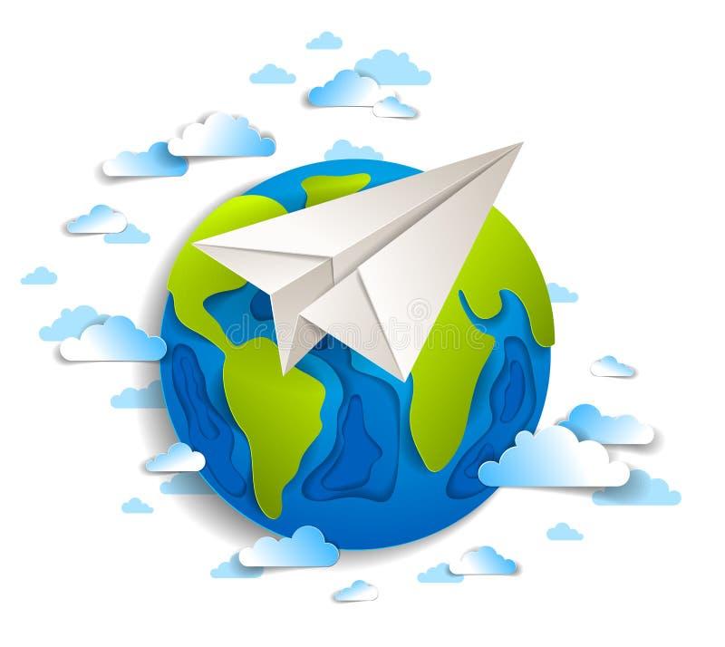 Origami faltete flaches Fliegen des Spielzeugs um die Karikaturpapier-Schnitterde mit sch?nen Wolken, moderne Illustration der Ar stock abbildung