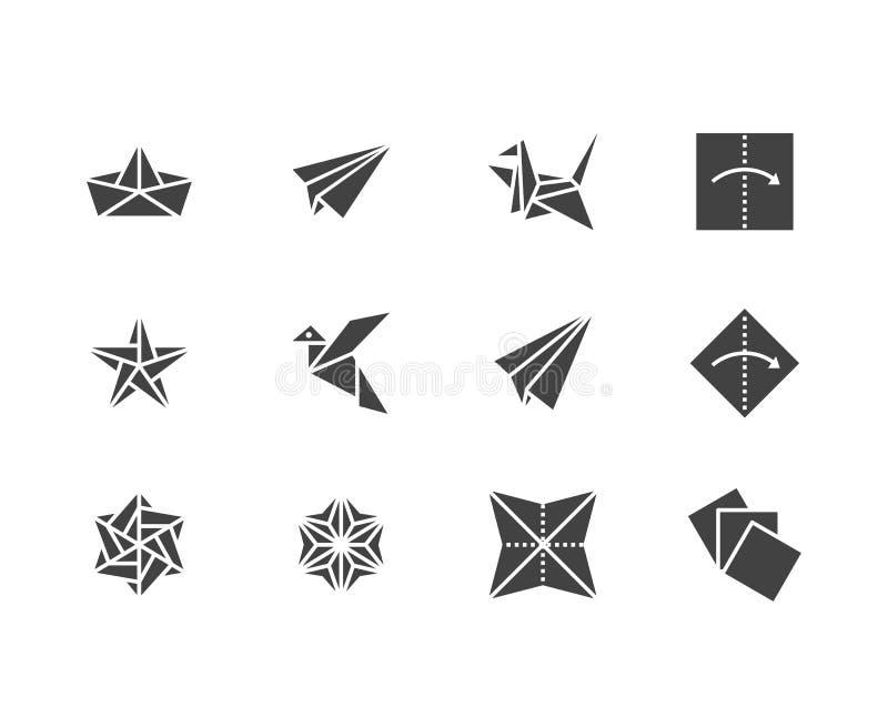 Origami flacher Glyph-Ikonensatz Papierkräne, Vogel, Boot, Illustrationen des flachen Vektors Zeichen für japanisches kreatives H vektor abbildung