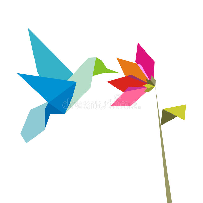 Origami flower and hummingbird on white. Origami pastel colors hummingbird and flower on white background. Vector file available stock illustration