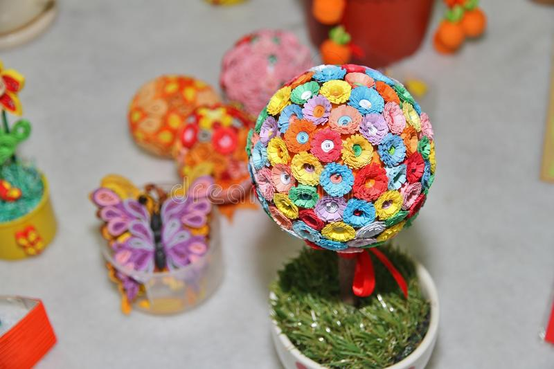 Origami. Colorful flowers shaped into a flower ball royalty free stock photos