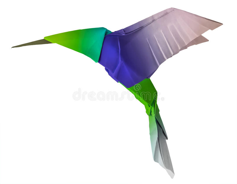 Origami flying hummingbird royalty free stock photo
