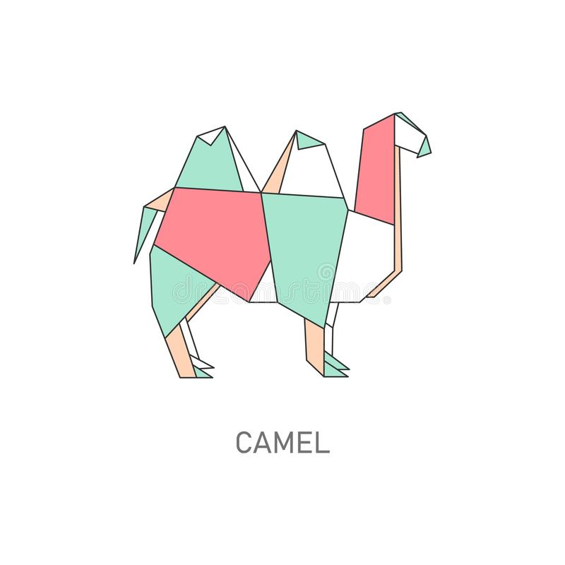 Origami folded paper camel animal flat vector illustration isolated on white. Folded paper or origami camel animal flat with outline stroke polygonal design vector illustration