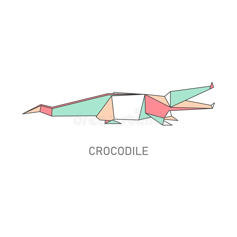 Origami folded paper crocodile flat vector illustration isolated on white. vector illustration