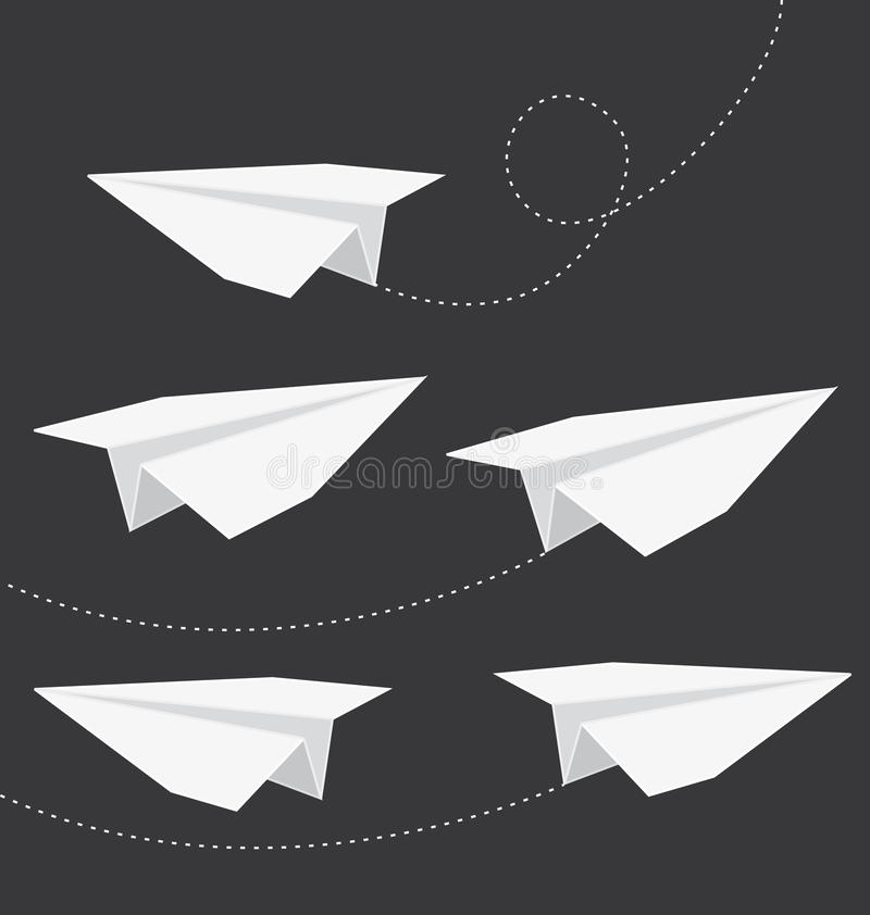 Origami folded paper planes. royalty free illustration