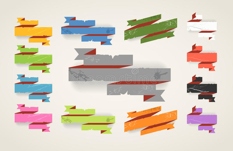 Download Origami Folded Vintage Banners Stock Photo - Image: 25511350