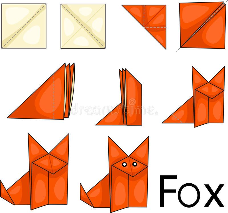 Origami fox. Illustrator of origami with fox stock illustration