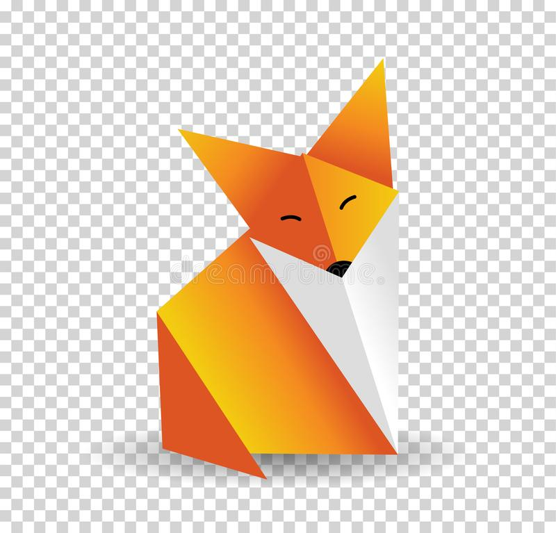 Origami fox vector. Orange, foxy and white color. stock illustration