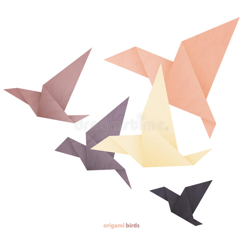 Origami. Freedom concept image with five origami birds isolated on white background royalty free illustration