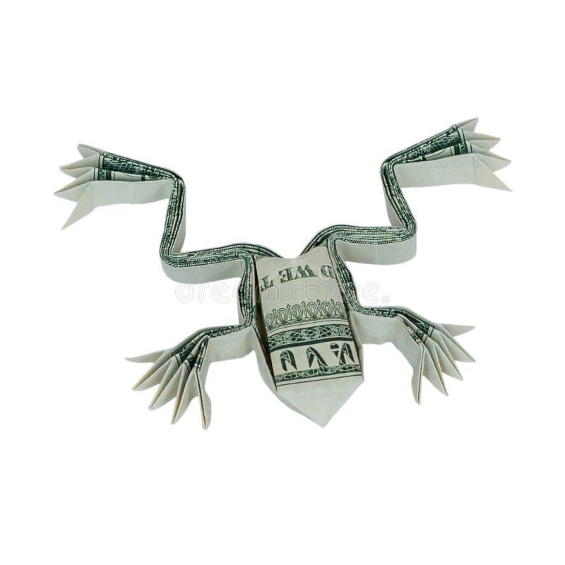 Origami FROSCH Geld-wirklicher Dollar Bill Isolated lizenzfreie stockfotos