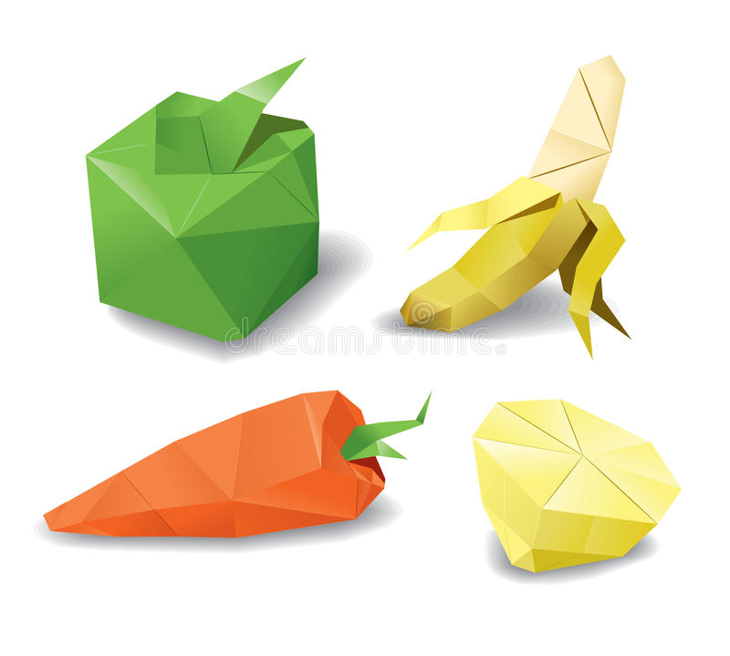 Origami fruits set. Origami fruits and vagatables set vector illustration