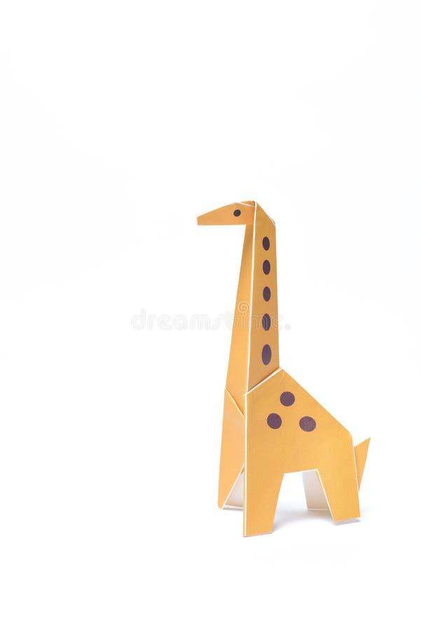 Origami Gele Giraf Enige Status royalty-vrije stock foto's