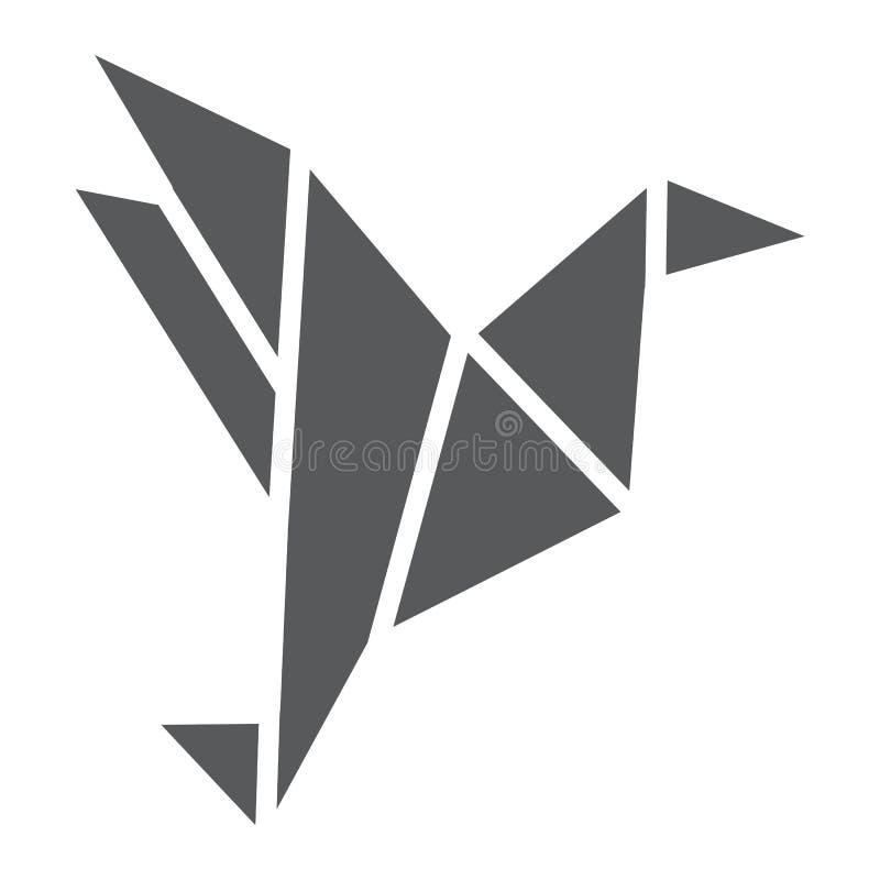 Origami Glyph-Ikonen-, geometrisches und asiatisches, Papiervogelzeichen, Vektorgrafik, ein festes Muster auf einem weißen Hinter stock abbildung