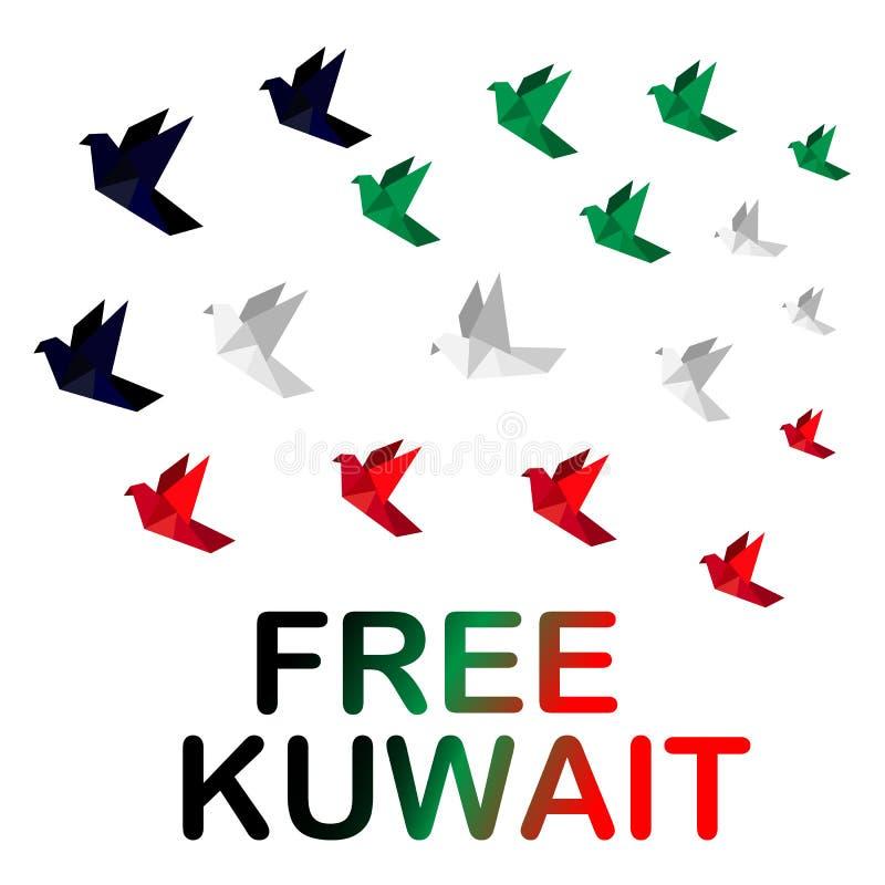 Origami gołąbka jest symbolem wolność, kolory flaga Kuwejt dzień narodowość Kuwejt i wyzwolenie royalty ilustracja