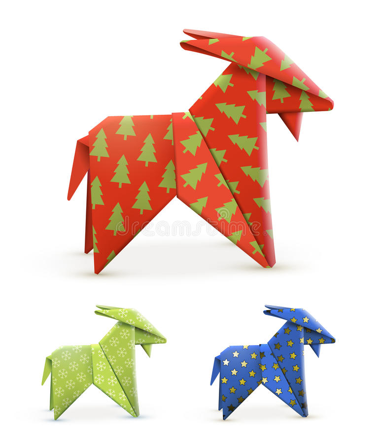Origami Goats Different Colors Vector Illustration Eps10 Stock