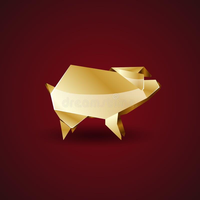 Origami golden pig. Polygonal symbol in golden origami style stock illustration