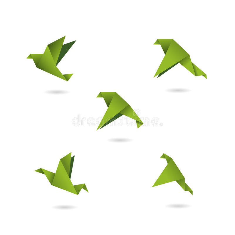 Origami green birds icons set vector illustration. Objects stock illustration