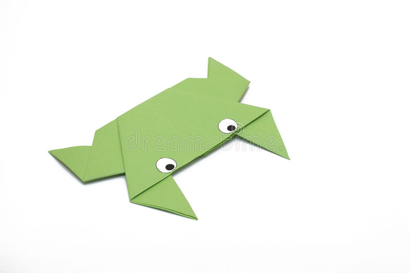 Origami green frog stock photo